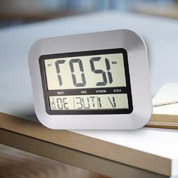 LCD Digital Wall Clock Thermometer Electronic Temperature Me