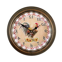 Lighted Rooster Wall Clock with Remote Control