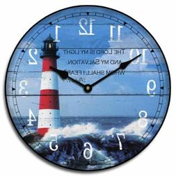 Lighthouse Wall Clock Perfect Round Home Wall Decor Craft Ul