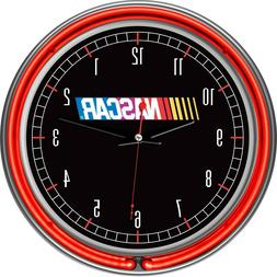 Man Cave Battery Operated Chrome Double Ring Neon Clock Elec