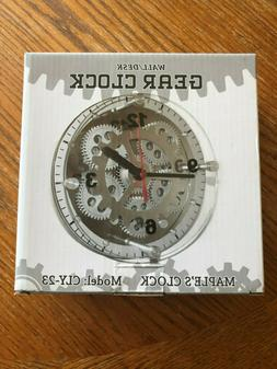 Maple's 6-Inch Moving Gear Wall Clock, Glass Cover - New in