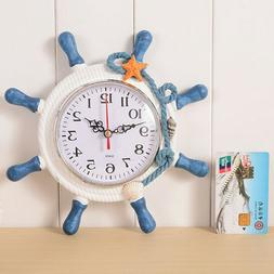 Mediterranean Wall Clock Beach Sea Theme Wheel Steering Whee