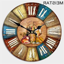 MEISTAR Vintage Large Wooden Wall Clock Creative Silent Home