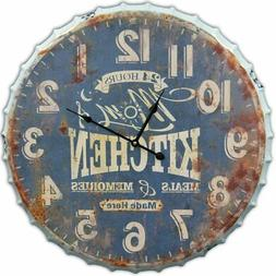 Metal Wall Clock Retro Antique 3D Extra Large 24 x 24 Inches