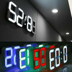 Modern Digital 3D LED Wall Clock USB Large Alarm Clock Snooz