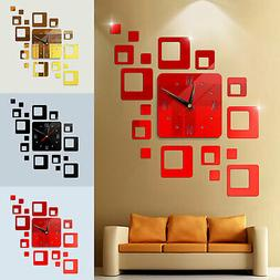 Modern DIY 3D Large Wall Clock Mirror Surface Sticker Art De