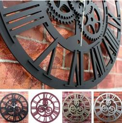 Modern Home Decor Wall Clock Large Round Metal Color Vintage