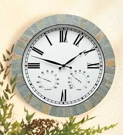 Natural Slate Framed Wall Clock with Temperature and Humidit
