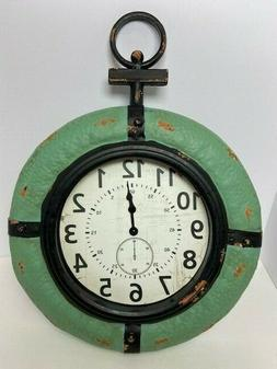 "NAUTICAL THEME WALL CLOCK GREEN BLACK 19.5 x 15 x 3"" QUARTZ"