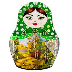 Nesting Doll Shaped Wall Clock for Living Room Home Office D