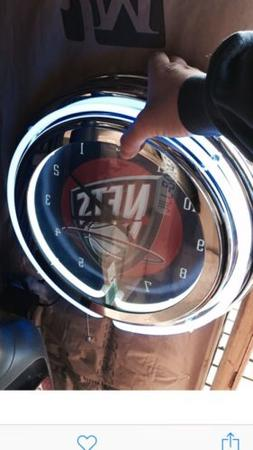 NETS Chrome Double Ring Neon Clock $125 Battery Operated NEW