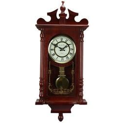 """New Redwood Finish 25"""" Wall Clock with Pendulum and Chime"""