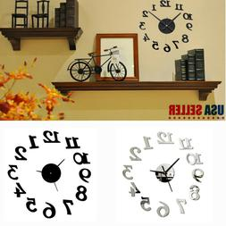 Non Toxic DIY 3D Number Mirror Wall Clock Sticker Decor for