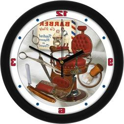 "Old Time Barbershop Retro Vintage Theme 11.5"" Wall Clock by"