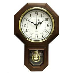 Pendulum Westminster Chime Faux Wood Wall Clock