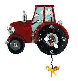 Allen Designs Red Tractor Time with Wheat Pendulum Wall Cloc