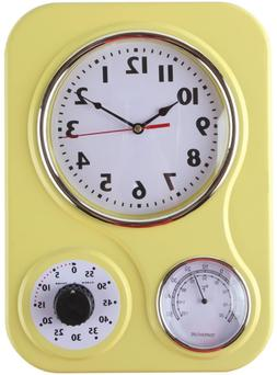 retro kitchen wall clock with thermometer