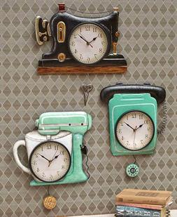 Retro Metal Pendulum Kitchen Wall Clocks Sewing Machine Tele