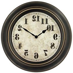 45Min 18-inch Retro Wall Clock, Silent Non-Ticking Round Hom