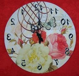 roses flowers with butterfly wall hung clock