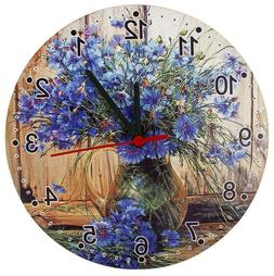 Round Analog Wall Clock Living Room Home Office Floral Cornf