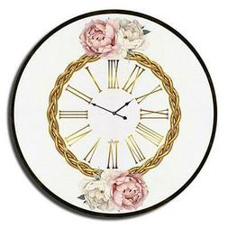 Vogue Round Floral Wall Clock 60cm Roman Numerals for Bedroo