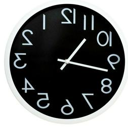 12 Inches Round Shape Wall Clock, Non Ticking  Silent , Blac
