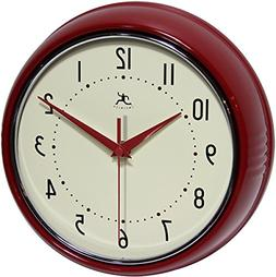 Infinity Instruments Round Silent Red Retro Indoor Wall Cloc