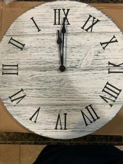 """Rustic 12"""" Wood Clock With Roman Numeral White/black"""