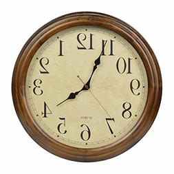 16-Inch Solid Wood Silent Non-Ticking Battery Operated Decor
