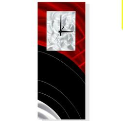 Metal Wall Clock  Modern Art Red/Black Abstract Home/Office