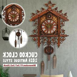 Style Vintage Wood Cuckoo Clock Forest House Swing Wall Hand