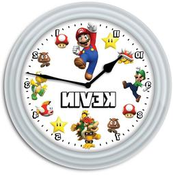 Super Mario PERSONALIZED Wall Clock - Video Game Room Kids B