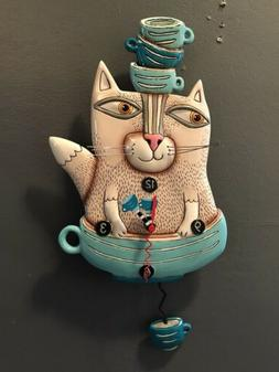Allen Designs Teacat Clock Whimsical Teal Cat Tea Cup Pendul