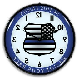 thin blue line led lighted wall clock