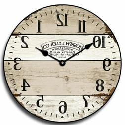 Vintage Barnwood Wood Wall Clock  Whisper Quiet, Non ticking