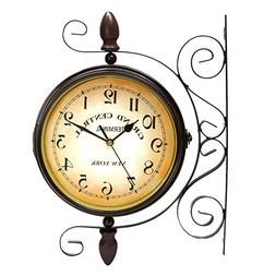 Puto Vintage-inspired Double Sided Wall Clock - Wrought Iron