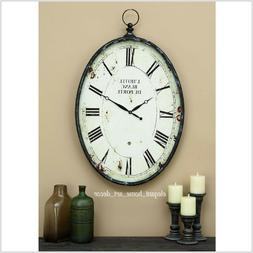 Large Wall Clock Vintage Old French Street Look Metal Oval F