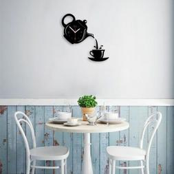 Vintage Wall Clock Coffee Cup Shaped Decorative Kitchen Wall