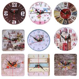 Vintage Wooden Wall Clock Large Shabby Chic Rustic Kitchen H