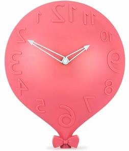 Wall Clock for Kids Room Decorative Pink Balloon Design with