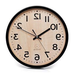 """DreamSky 12"""" Large Wall Clock, Battery Operated Non-Ticking"""