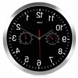 Home Wall Clock Metal Decoration Silent Sweep Movement Round