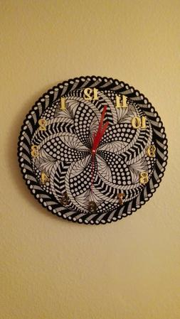 Wall clock new 12 inch color-white, black, gold, red w/silen
