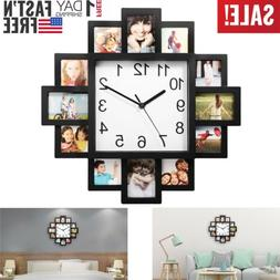 12 Picture Photo Frame Wall Clock Modern Art Display Home Be