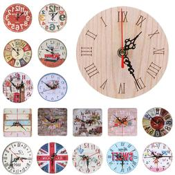Wall Clock Round Analog Home Decor Large Display Rustic Mode