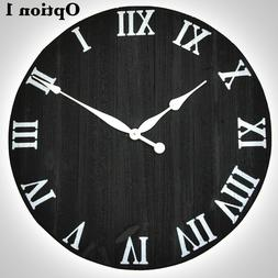 Wall Clock Rustic Wood Large Oversized Vintage Home Office D