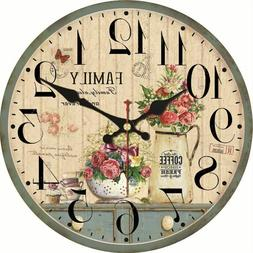 Home Wall Clock Watch Kitchen Living Room Decoration Floral