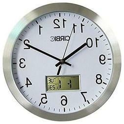 Wall Clock with Digital Date, Day of Week and Temperature Me