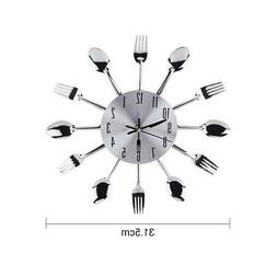 Wall Mounted Clock Kitchen Tool Decoration Spoon Fork Modern